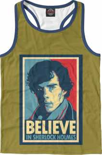 Купить Believe in Sherlock, Printbar, Майки борцовки, SHE-658146-mayb-2